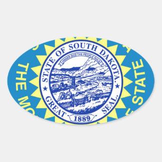Sticker Ovale Drapeau du Dakota du Sud