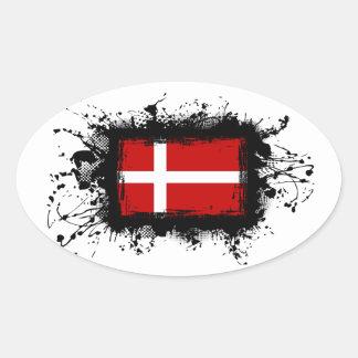 Sticker Ovale Drapeau du Danemark