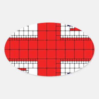 Sticker Ovale Drapeau R-U de cric des syndicats patriotique