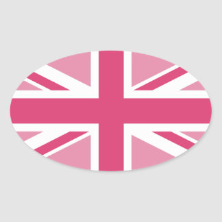 Sticker Ovale ~ d'Union Jack dans des roses Girly