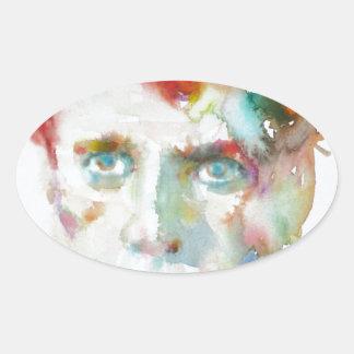 Sticker Ovale Dylan Thomas - aquarelle portrait.1