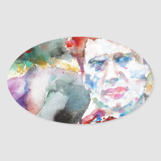 Sticker Ovale Dylan Thomas - aquarelle portrait.2