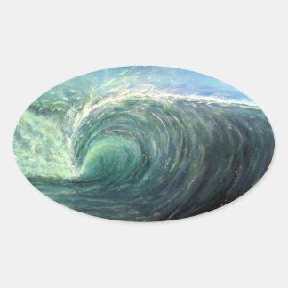 Sticker Ovale échouez la vague, pièce verte, boucle de déchirure