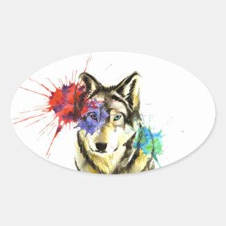 Sticker Ovale Éclaboussure de loup