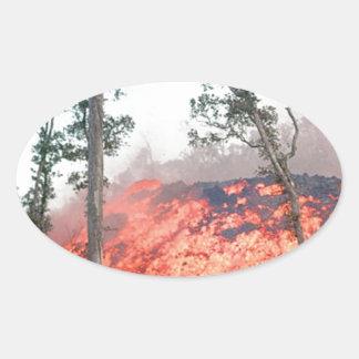 Sticker Ovale écoulement de fonte du feu