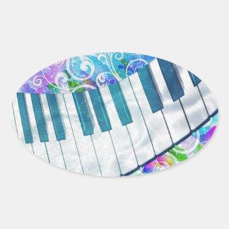 Sticker Ovale Effets de la lumière de piano circulaire bleu