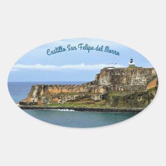 Sticker Ovale EL Morro gardant l'entrée de baie de San Juan