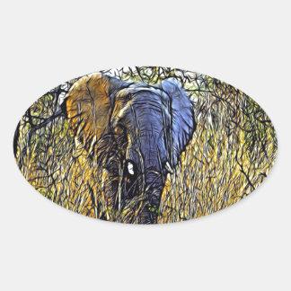 Sticker Ovale Éléphant africain d'art animal sauvage de safari