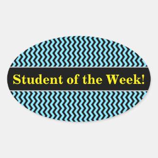 Sticker Ovale Éloge d'étudiant + Motif de vague bleu-clair et