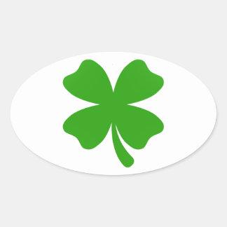 Sticker Ovale emoji de trèfle de st patrick