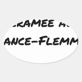 Sticker Ovale ÉNERGIE CRAMÉE AU LANCE-FLEMME - Jeux de mots