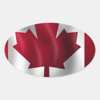 Sticker Ovale Érable canadien de feuille d'emblème de pays de