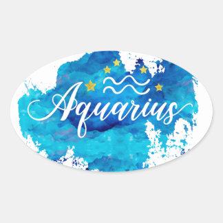Sticker Ovale Étoiles bleues d'or d'aquarelle de Verseau de