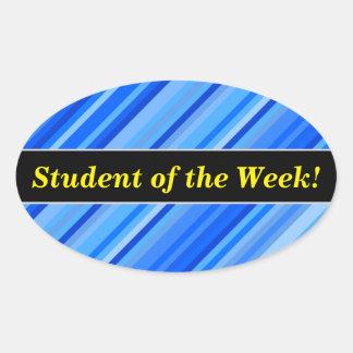 """Sticker Ovale """"Étudiant de la semaine !"""" + Rayures de motif bleu"""
