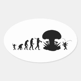 Sticker Ovale Évolution de diagramme drôle d'évolution de