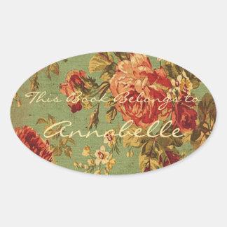 Sticker Ovale Ex-libris personnalisé par rose rose de cru et