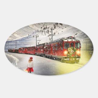 Sticker Ovale Express de Pôle Nord - train de Noël - train de