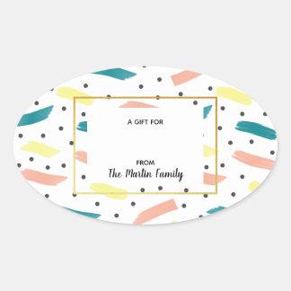 Sticker Ovale Faites à un abrégé sur éclaboussure le cadeau