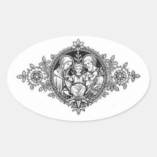 Sticker Ovale Famille sainte Jésus Mary St Joseph