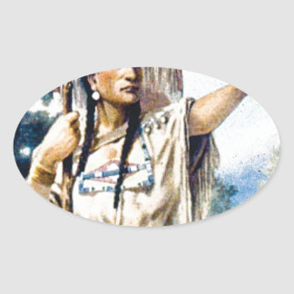Sticker Ovale femme indienne de squaw