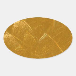 Sticker Ovale Feuille de cuivre de l'or n :  Lotus a gravé la