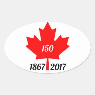 Sticker Ovale Feuille d'érable du Canada 150 en 2017