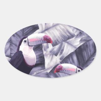 Sticker Ovale Feuille tropical de banane de toucan violet