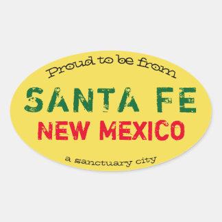 """Sticker Ovale """"Fier d'être de Santa Fe, une ville de sanctuaire"""