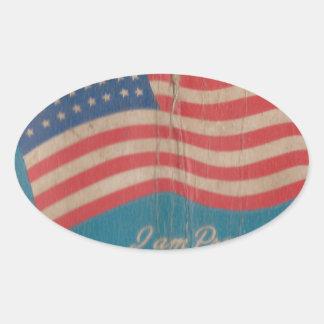 Sticker Ovale Fier vintage d'être copie patriotique américaine