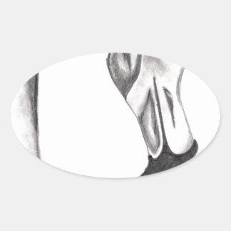 Sticker Ovale Flamant de fantaisie