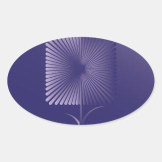 Sticker Ovale Fleur carrée de violette