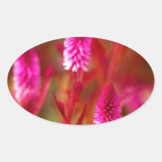 Sticker Ovale Fleur en pastel