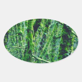 Sticker Ovale Forêt verte