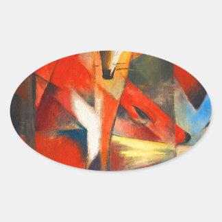 Sticker Ovale Franz Marc les renards