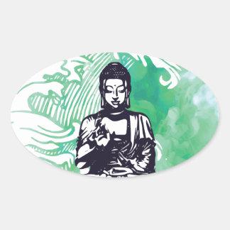 Sticker Ovale Fumée d'émeraude de vague de Bouddha d'ouragan