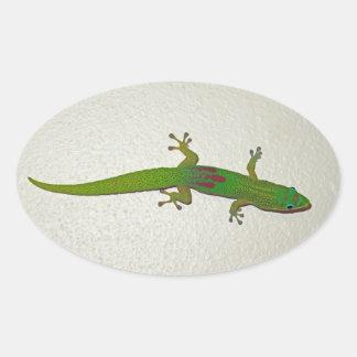 Sticker Ovale Gecko de la poussière d'or