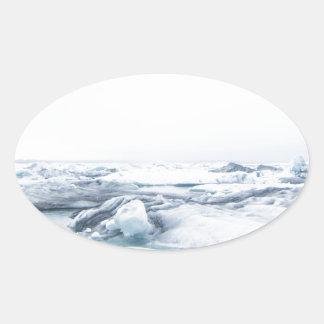 Sticker Ovale Glaciers de l'Islande - blanc