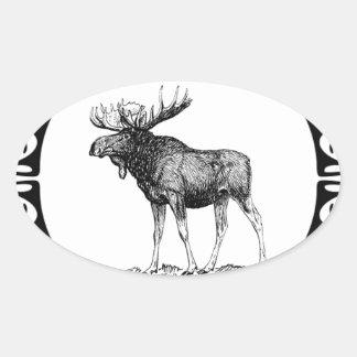 Sticker Ovale grand art d'orignaux de taureau