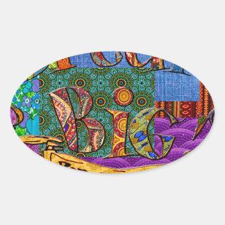 Sticker Ovale Grand collage terreux rêveur