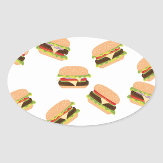 Sticker Ovale Grand hamburger savoureux