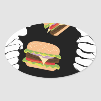 Sticker Ovale Grand hamburger savoureux et Hands3
