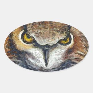 Sticker Ovale Grand hibou grincheux d'oreille
