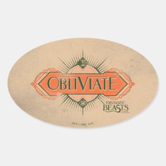 Sticker Ovale Graphique orange de charme d'Obliviate d'art déco
