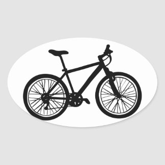 Sticker Ovale Griffonnage tiré par la main simple de bicyclette