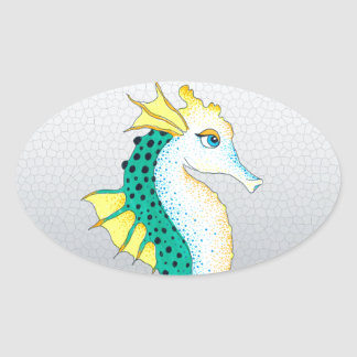 Sticker Ovale gris turquoise d'hippocampe