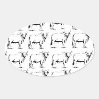 Sticker Ovale groupe de mauvais taureaux