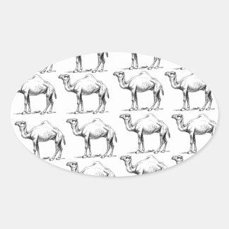 Sticker Ovale groupe de troupeau de chameaux