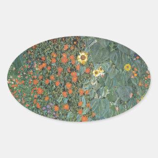 Sticker Ovale Gustav Klimt - fleurs de tournesols de jardin de