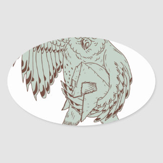 Sticker Ovale Hibou tenant le dessin spartiate de casque