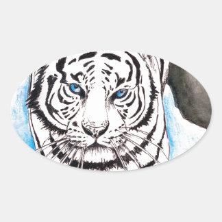Sticker Ovale Hiver blanc de tigre sibérien